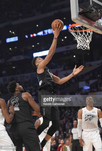 Giannis Antetokounmpo of Team Stephen goes up for a layup during the NBA AllStar Game 2018 at Staples Center on February 18 2018 in Los Angeles...