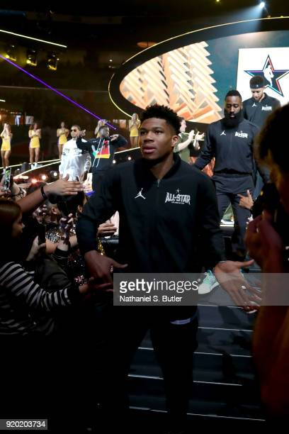 Giannis Antetokounmpo of Team Stephen is introduced before the NBA AllStar Game as a part of 2018 NBA AllStar Weekend at STAPLES Center on February...