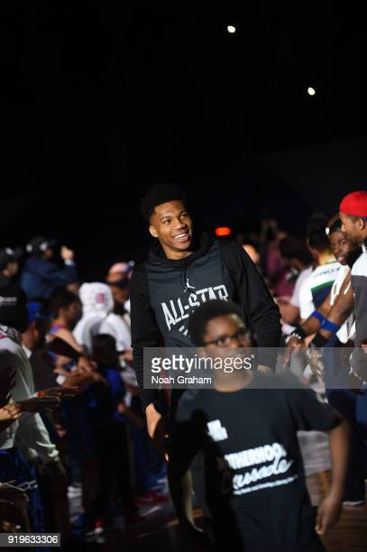Giannis Antetokounmpo of team Stephen is introduced during the 2018 NBA All Star Practice as part of 2018 AllStar Weekend at Verizon Up Arena at LACC...