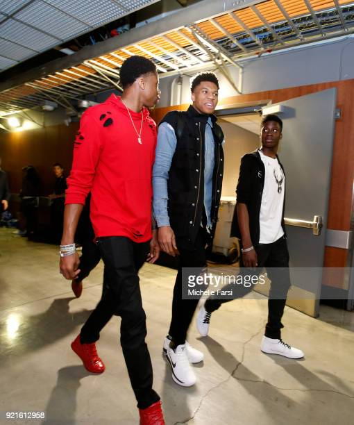 Giannis Antetokounmpo of Team Stephen leaves the arena after the NBA AllStar Game as a part of 2018 NBA AllStar Weekend at STAPLES Center on February...