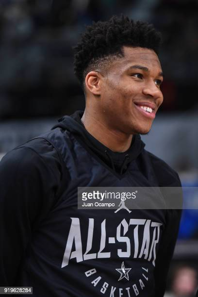 Giannis Antetokounmpo of Team Stephen looks on during NBA AllStar Media Day Practice as part of 2018 NBA AllStar Weekend at the Los Angeles...