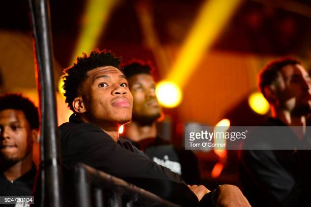 Giannis Antetokounmpo of team Stephen looks on during the NBA All-Star Game 2018 on February 18, 2018 at the Staples Center in Los Angeles,...