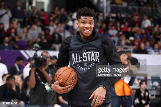 Giannis Antetokounmpo of Team Stephen participates in the NBA AllStar practice as part of the 2018 NBA AllStar Weekend on February 17 2018 at the...