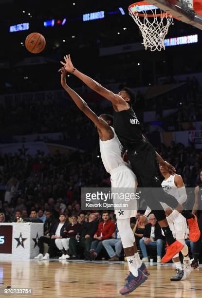 Giannis Antetokounmpo of Team Stephen scraps for the ball with Kevin Durant of Team LeBron during the NBA AllStar Game 2018 at Staples Center on...
