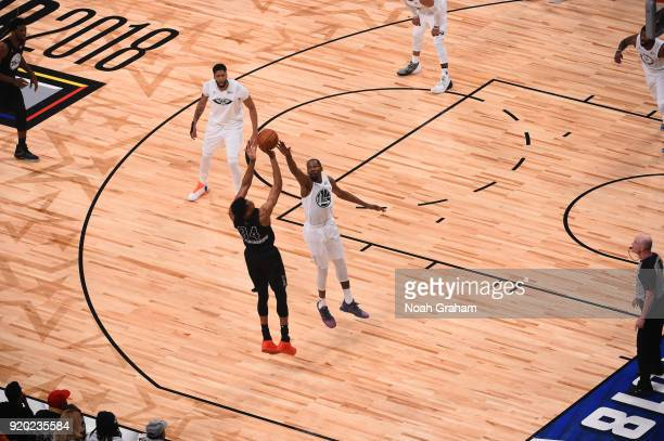 Giannis Antetokounmpo of team Stephen shoots against Kevin Durant of team LeBron during the NBA AllStar Game as a part of 2018 NBA AllStar Weekend at...