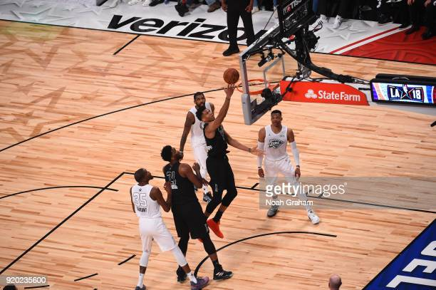 Giannis Antetokounmpo of team Stephen shoots during the NBA AllStar Game as a part of 2018 NBA AllStar Weekend at STAPLES Center on February 18 2018...