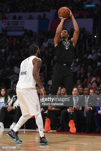 Giannis Antetokounmpo of Team Stephen shoots over Kyrie Irving of Team LeBron during the NBA AllStar Game 2018 at Staples Center on February 18 2018...