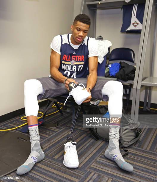 Giannis Antetokounmpo of the Eastern Conference All Star Team gets ready before NBA AllStar Practice as part of 2017 AllStar Weekend at the...