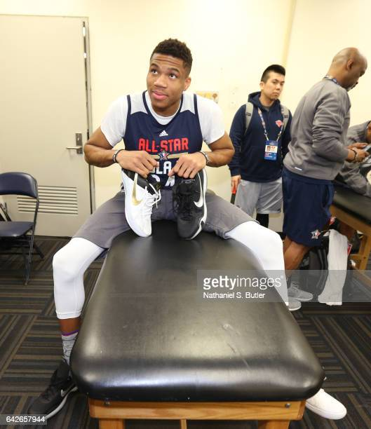 Giannis Antetokounmpo of the Eastern Conference All Star Team poses for a photo before NBA AllStar Practice as part of 2017 AllStar Weekend at the...