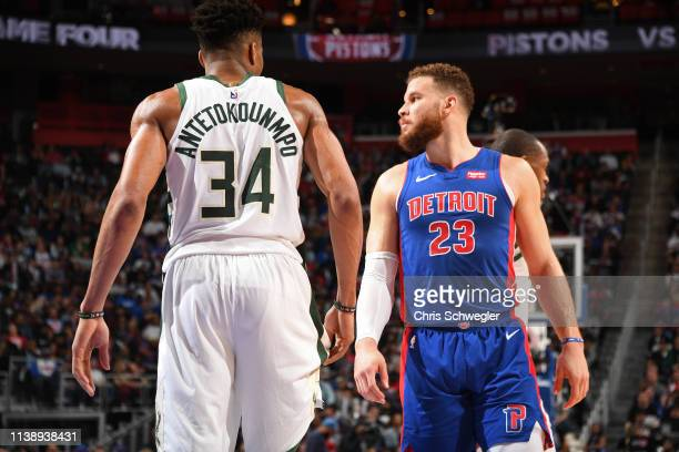 Giannis Antetokounmpo of the Milwaukee Bucks and Blake Griffin of the Detroit Pistons look on during Game Four of Round One of the 2019 NBA Playoffs...