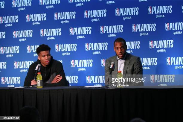 Giannis Antetokounmpo of the Milwaukee Bucks and Khris Middleton of the Milwaukee Bucks speak with media after the game against the Boston Celtics in...