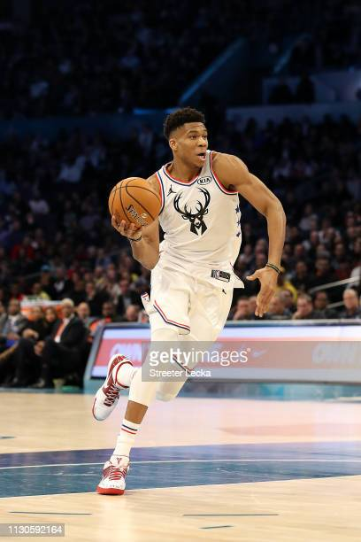 Giannis Antetokounmpo of the Milwaukee Bucks and Team Giannis drives against Team LeBron in the fourth quarter during the NBA AllStar game as part of...