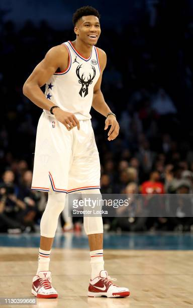 Giannis Antetokounmpo of the Milwaukee Bucks and Team Giannis reacts against Team LeBron in the first quarter during the NBA All-Star game as part of...