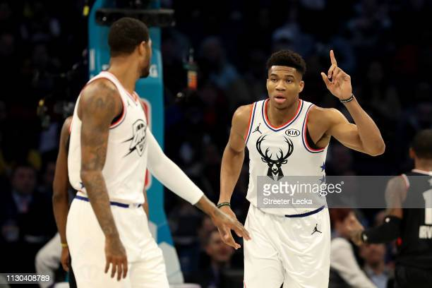 Giannis Antetokounmpo of the Milwaukee Bucks and Team Giannis reacts against Team LeBron in the first quarter during the NBA AllStar game as part of...
