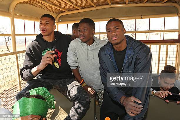 Giannis Antetokounmpo of the Milwaukee Bucks and Thanasis Antetokounmpo of the New York Knicks visit the South Africa Lion Park as part of Basketball...