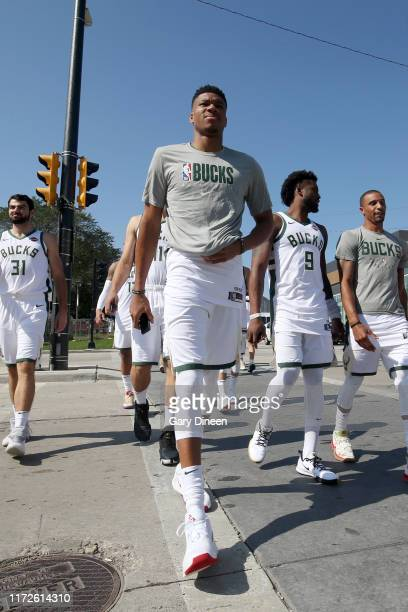 Giannis Antetokounmpo of the Milwaukee Bucks arrives before media day on September 30 2019 at the Fiserv Forum in Milwaukee Wisconsin NOTE TO USER...