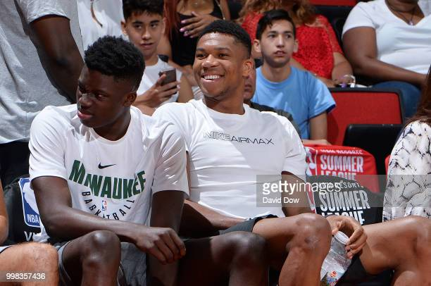 Giannis Antetokounmpo of the Milwaukee Bucks attends the game between the Dallas Mavericks and the Washington Wizards during the 2018 Las Vegas...