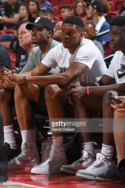 Giannis Antetokounmpo of the Milwaukee Bucks attends the game between the Chicago Bulls and Dallas Mavericks during the 2018 Las Vegas Summer League...