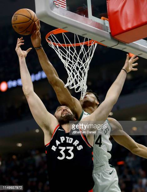 Giannis Antetokounmpo of the Milwaukee Bucks blocks a shot attempt by Marc Gasol of the Toronto Raptors in the first quarter during Game Two of the...