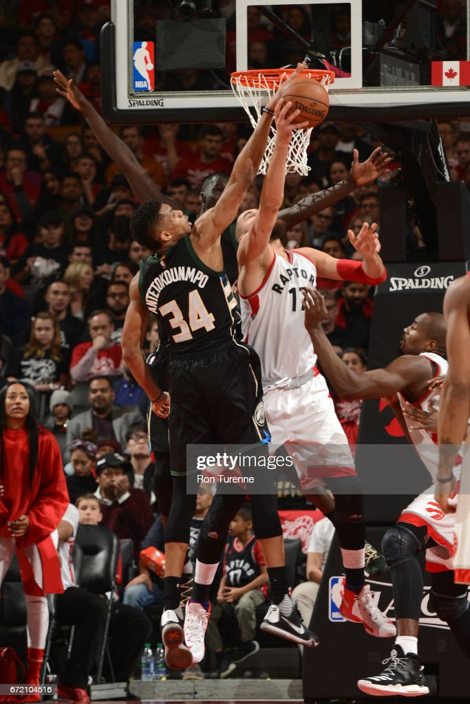 Giannis Antetokounmpo #34 of the Milwaukee Bucks blocks against Jonas Valanciunas #17 of the Toronto Raptors in Round One of the Eastern Conference Playoffs during the 2017 NBA Playoffs on April 15, 2017 at the Air Canada Centre in Toronto, Ontario, Canada.