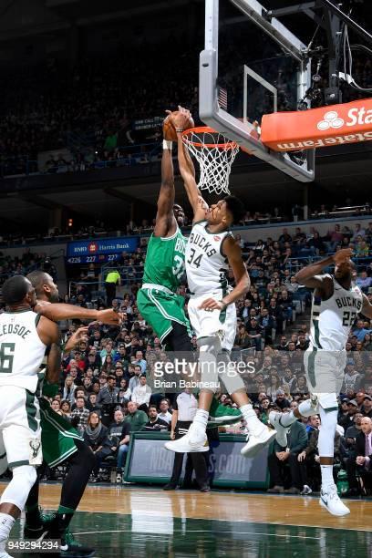 Giannis Antetokounmpo of the Milwaukee Bucks blocks the shot of Semi Ojeleye of the Boston Celtics in Game Three of Round One of the 2018 NBA...