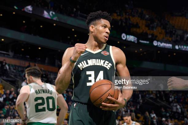 Giannis Antetokounmpo of the Milwaukee Bucks celebrates after Game Three of the Eastern Conference Semifinals against the Boston Celtics during the...