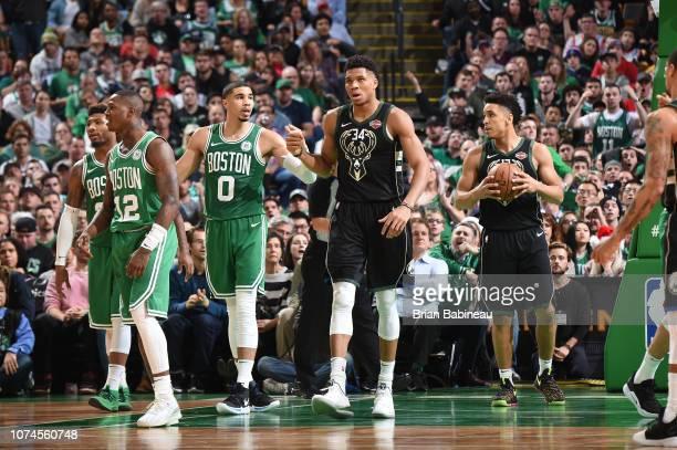 Giannis Antetokounmpo of the Milwaukee Bucks celebrates during the game against the Boston Celtics on December 21 2018 at the TD Garden in Boston...