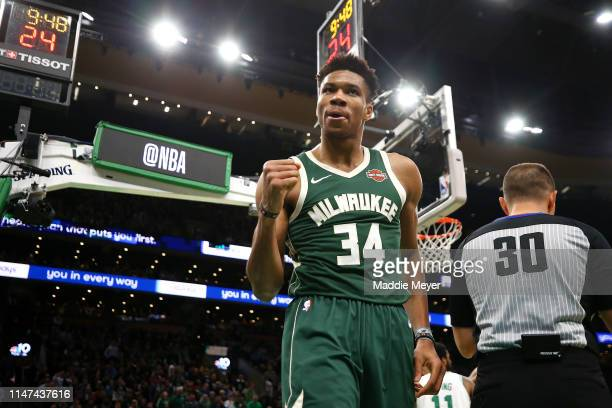 Giannis Antetokounmpo of the Milwaukee Bucks celebrates during the second half of Game 4 of the Eastern Conference Semifinals against the Boston...