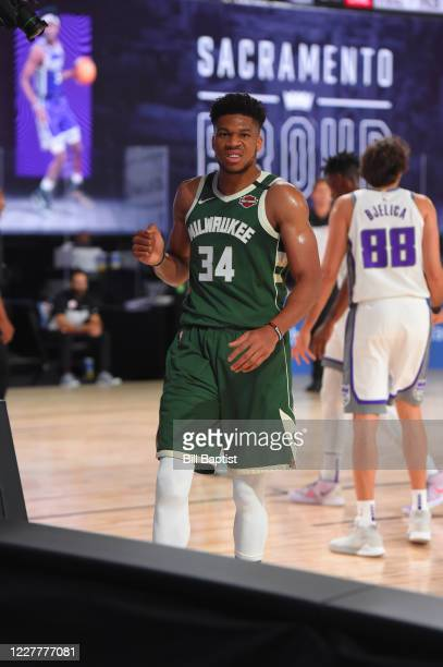 Giannis Antetokounmpo of the Milwaukee Bucks celebrates during the game against the Sacramento Kings during a scrimmage on July 25 2020 at The Arena...
