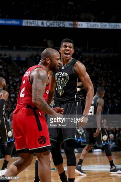 Giannis Antetokounmpo of the Milwaukee Bucks celebrates during the game against the Toronto Raptors during Game Three of the Eastern Conference...