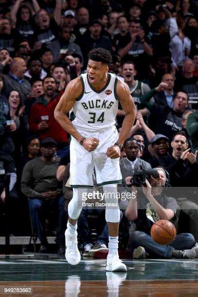 Giannis Antetokounmpo of the Milwaukee Bucks celebrates during the game against the Boston Celtics in Game Three of Round One of the 2018 NBA...