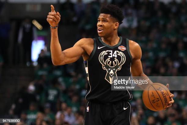 Giannis Antetokounmpo of the Milwaukee Bucks dribbles against the Boston Celtics in the first quarter of Game Two in Round One of the 2018 NBA...