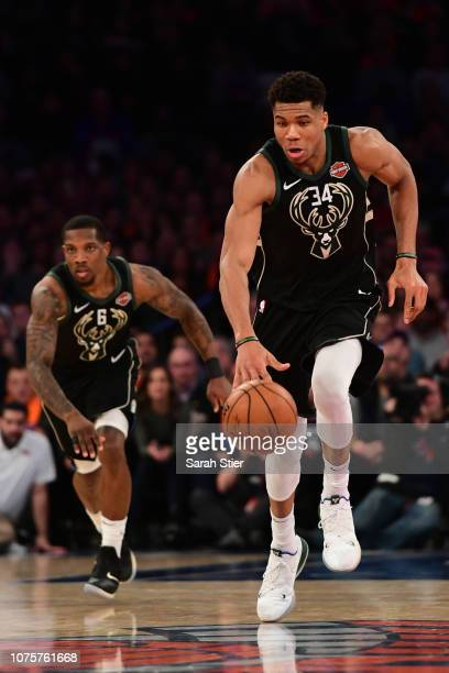 Giannis Antetokounmpo of the Milwaukee Bucks dribbles down the court during the fourth quarter of the game against New York Knicks at Madison Square...