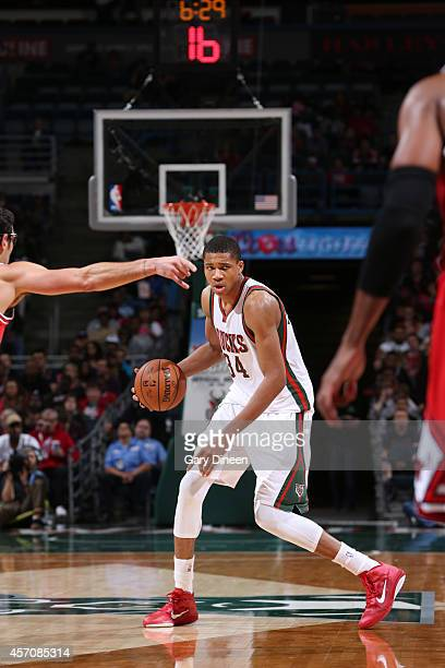 Giannis Antetokounmpo of the Milwaukee Bucks dribbles the ball against the Chicago Bulls during the game on October 11 2014 at BMO Harris Bradley...