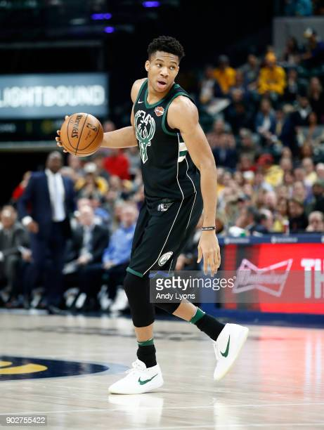 Giannis Antetokounmpo of the Milwaukee Bucks dribbles the ball against the Indiana Pacers during the game at Bankers Life Fieldhouse on January 8...