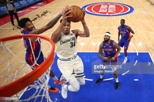 Giannis Antetokounmpo of the Milwaukee Bucks drives to the basket past Langston Galloway of the Detroit Pistons during the second half at Little...