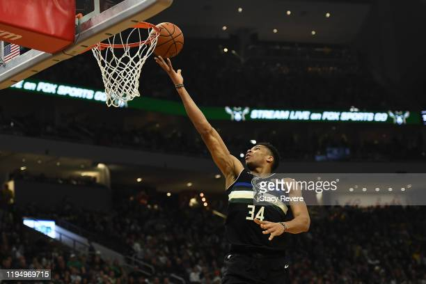 Giannis Antetokounmpo of the Milwaukee Bucks drives to the basket during the first half of a game against the Los Angeles Lakers at Fiserv Forum on...
