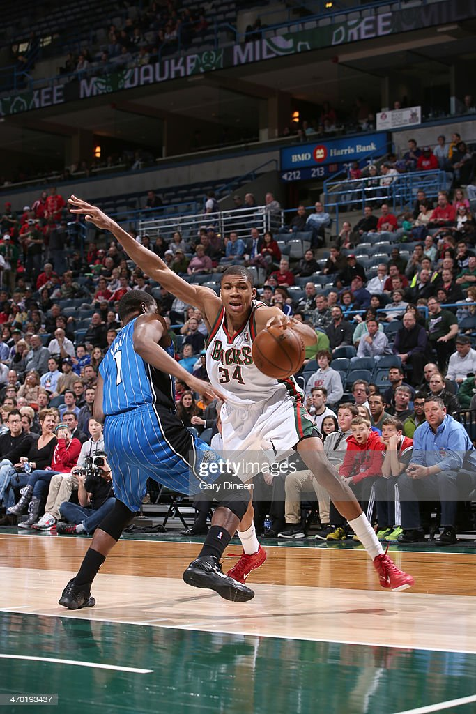 Giannis Antetokounmpo #34 of the Milwaukee Bucks drives to the basket against the Orlando Magic on February 18, 2014 at the BMO Harris Bradley Center in Milwaukee, Wisconsin.