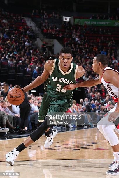 Giannis Antetokounmpo of the Milwaukee Bucks drives to the basket against the Portland Trail Blazers during the game on February 2 2016 at Moda...