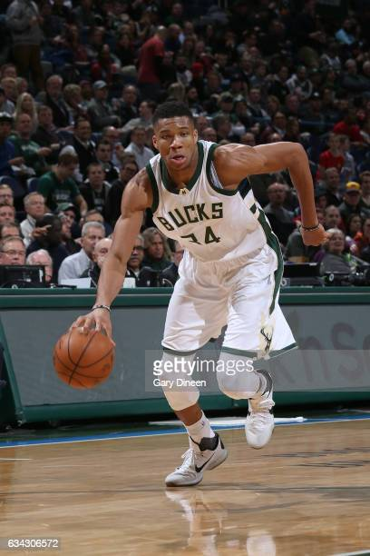 Giannis Antetokounmpo of the Milwaukee Bucks drives to the basket against the Miami Heat on February 8 2017 at the BMO Harris Bradley Center in...