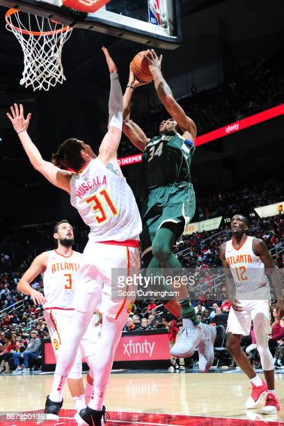 Giannis Antetokounmpo of the Milwaukee Bucks drives to the basket against the Atlanta Hawks on October 29 2017 at Philips Arena in Atlanta Georgia...