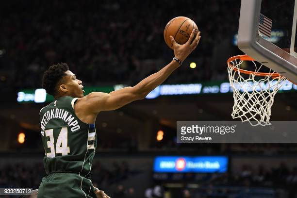 Giannis Antetokounmpo of the Milwaukee Bucks drives to the basket during the second half of a game against the Atlanta Hawks at the Bradley Center on...