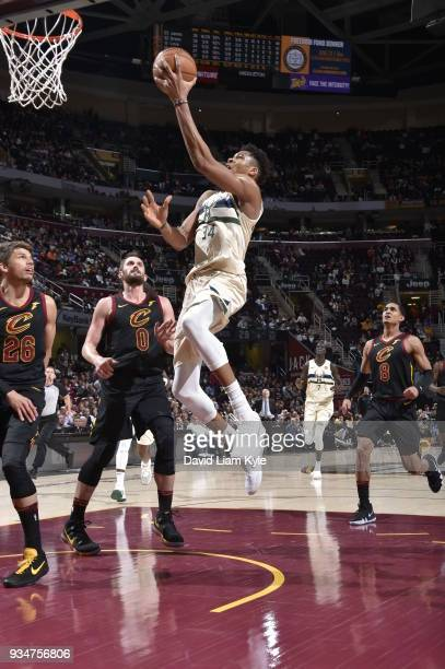 Giannis Antetokounmpo of the Milwaukee Bucks drives to the basket against the Cleveland Cavaliers on March 19 2018 at Quicken Loans Arena in...