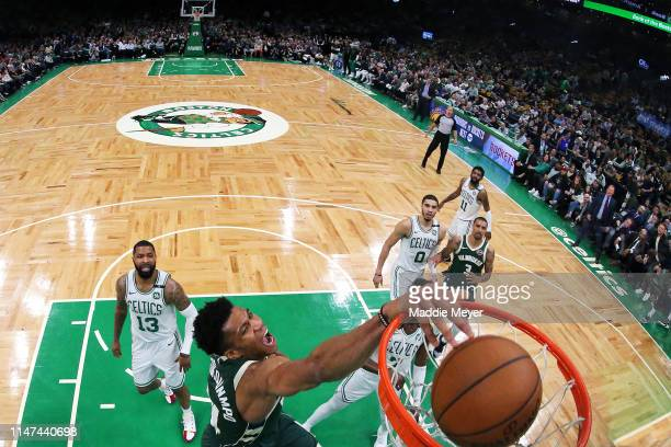 Giannis Antetokounmpo of the Milwaukee Bucks dunks against the Boston Celtics during Game 4 of the Eastern Conference Semifinals during the 2019 NBA...