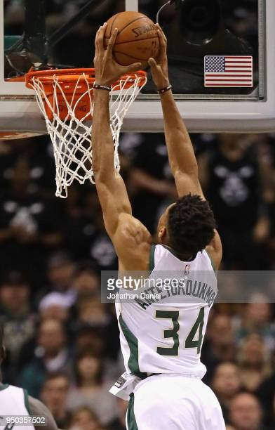 Giannis Antetokounmpo of the Milwaukee Bucks dunks against the Boston Celtics during Game Four of Round One of the 2018 NBA Playoffs at the Bradley...