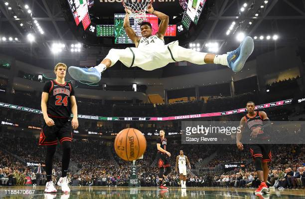 Giannis Antetokounmpo of the Milwaukee Bucks dunks against the Chicago Bulls during the second half at Fiserv Forum on November 14 2019 in Milwaukee...