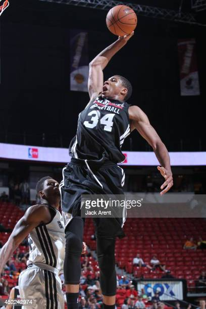 Giannis Antetokounmpo of the Milwaukee Bucks dunks against the San Antonio Spurs at the Samsung NBA Summer League 2014 on July 16 2014 at the Thomas...