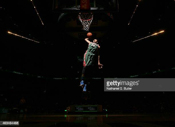 Giannis Antetokounmpo of the Milwaukee Bucks dunks during the Sprite Slam Dunk Contest on State Farm AllStar Saturday Night as part of the 2015 NBA...