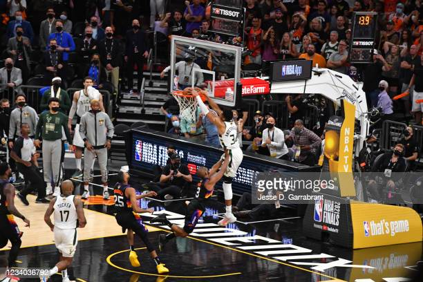 Giannis Antetokounmpo of the Milwaukee Bucks dunks the ball against the Phoenix Suns during Game Five of the 2021 NBA Finals on July 17, 2021 at...
