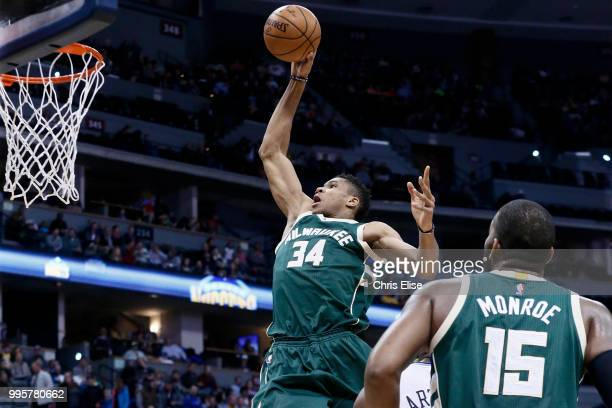 Giannis Antetokounmpo of the Milwaukee Bucks dunks the ball against the Denver Nuggets on February 3 2017 at the Pepsi Center in Denver Colorado NOTE...